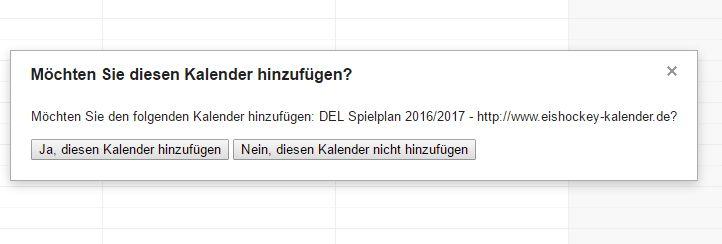 Google Kalender Abo per Button