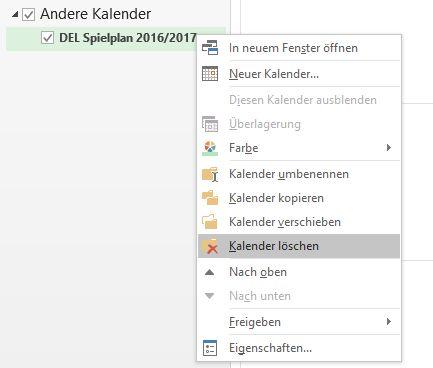 Kalender entfernen Outlook